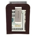 FULL-GRAIN PEBBLED BROWN LEATHER MONEY CLIP CARD CASE