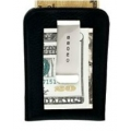 FULL-GRAIN PEBBLED BLACK LEATHER MONEY CLIP CARD CASE