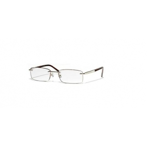 POLISHED SILVER/DARK TORTOISE RIMLESS READERS WITH DEEP LENS SIZE