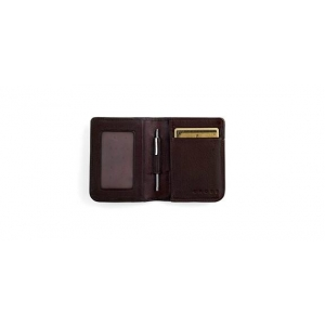 FULL-GRAIN PEBBLED BROWN LEATHER FOLDED ID CARD CASE