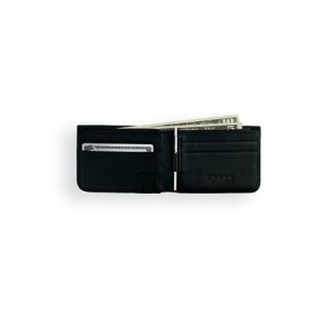 FULL-GRAIN PEBBLED BLACK LEATHER SLIM BIFOLD WALLET