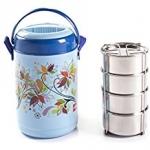 Cello Mark Insulated Lunch Carrier Set, 4 Container, Blue