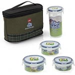 Cello Fit & Fresh Round Lunch Box Set with Thermal Bag, 4-Pieces