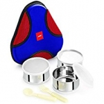 Cello Planet Lunch Packs with 3-Containers, Outer Material Stainless Steel, Colour Blue