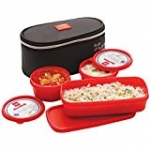 Cello Max Fresh Plastic Lunch Box Set, 3-Pieces, Red (CMF_MY LUNCH_RED)