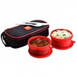 Cello Max Fresh Super Polypropylene Lunch Box Set, 300ml/24cm, Set of 2, Red
