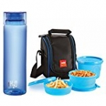Cello Lunch Pack Combo - Blue 3 H2O (Cello Max Fresh Lunch Box Set, 3-Pieces + Cello H2O Unbreakable Bottle , 1 Litre)
