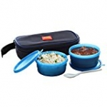 Cello Max Fresh Super Polypropylene Lunch Box Set, 300ml/24cm, Set of 2, Blue