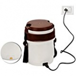 Cello Newton Electric Lunch Box with 4 Containers (White/Brown)