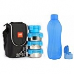 Cello Lunch Pack Combo - Blue Steel 4 Aqua (Cello Max Fresh Click Steel Lunch Box Set, 4-Pieces + Cello Aqua Flip Bottle, 1 Litre)