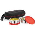 Cello Max Fresh Super Steel Lunch Box Set, 2-Pieces, Red