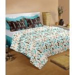 Raymond Home Blue and White Cotton Double Bedsheets with 2 Pillow Covers
