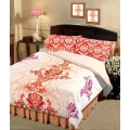 Raymond Home Brown & Purple Printed 3 Double Bed Sheets with 6 Pillow Covers Combo