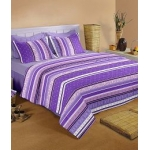 Raymond Home Purple and White Cotton Double Bedsheets with 2 Pillow Covers
