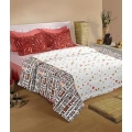 Raymond Home White and Black Cotton Double Bedsheets with 2 Pillow Covers