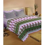 Raymond Home Purple and Green Cotton Double Bedsheets with 2 Pillow Covers