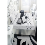 Fancy Black and White Embroidered Printed Bedsheet