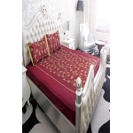 Embroidered Bedsheet-Maroon and Mehndi