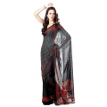 Black Red Bandhani Georgette Vintage Printed Saree