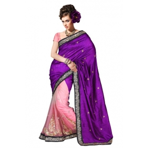 Pink Violate Patli Pallu Silk Embroidered saree