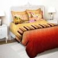 Tangerine Red & Yellow Banaras Themed Single Bedsheet with Pillow Cover