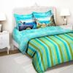 Tangerine Green & Blue Mumbai Themed Single Bedsheet with Pillow Cover