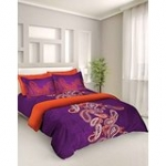 Tangerine Fete Gifting Cotton Double Bedsheet with 2 Pillow Covers - Purple