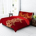 Tangerine Fete Gifting Cotton Double Bedsheet with 2 Pillow Covers - Maroon