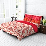 Tangerine Fete Gifting Cotton Double Bedsheet with 2 Pillow Covers - Red