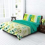 Tangerine Tangy Gold Cotton Bedsheet with 2 Pillow Covers - King XL, White and Green