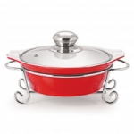 CUCINA ROUND CASSEROLE WITH METAL STAND 1500 ml RED