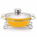 CUCINA ROUND CASSEROLE WITH METAL STAND 1500 ml YELLOW
