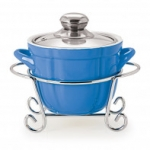 CUOCO ROUND CASSEROLE WITH METAL STAND 1500 ml BLUE