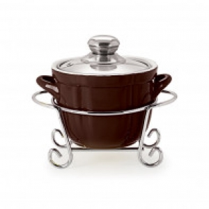 CUOCO ROUND CASSEROLE WITH METAL STAND 1500 ml BROWN