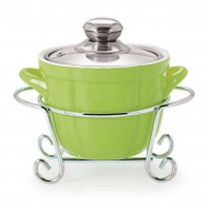 CUOCO ROUND CASSEROLE WITH METAL STAND 1500 ml GREEN