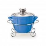 CUOCO ROUND CASSEROLE WITH METAL STAND 1000 ml BLUE