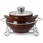 Cello GUSTO HANDI CASSEROLE WITH METAL STAND 1500 ml BROWN