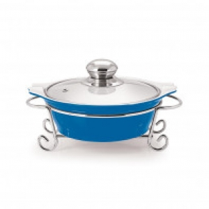 CUCINA ROUND CASSEROLE WITH METAL STAND 1500 ml BLUE