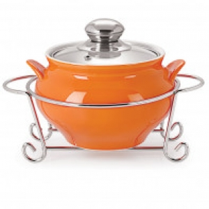 Cello GUSTO HANDI CASSEROLE WITH METAL STAND 1500 ml ORANGE