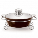 CUCINA ROUND CASSEROLE WITH METAL STAND 1500 ml BROWN