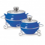 Cello POTENZA HANDI CASSEROLE WITH METAL STAND 1000 ml + 1500 ml BLUE