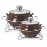 Cello POTENZA HANDI CASSEROLE WITH METAL STAND 1000 ml + 1500 ml BROWN