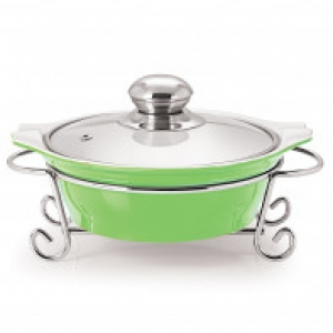 CUCINA ROUND CASSEROLE WITH METAL STAND 1500 ml GREEN