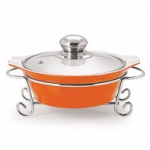 CUCINA ROUND CASSEROLE WITH METAL STAND 1500 ml ORANGE
